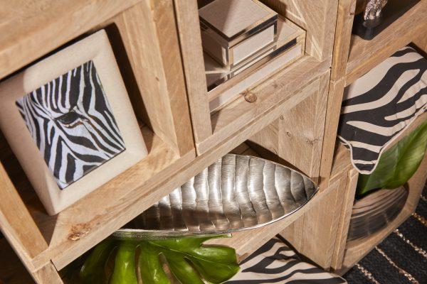 Trendy forkromet palmeblad skål 45 cm