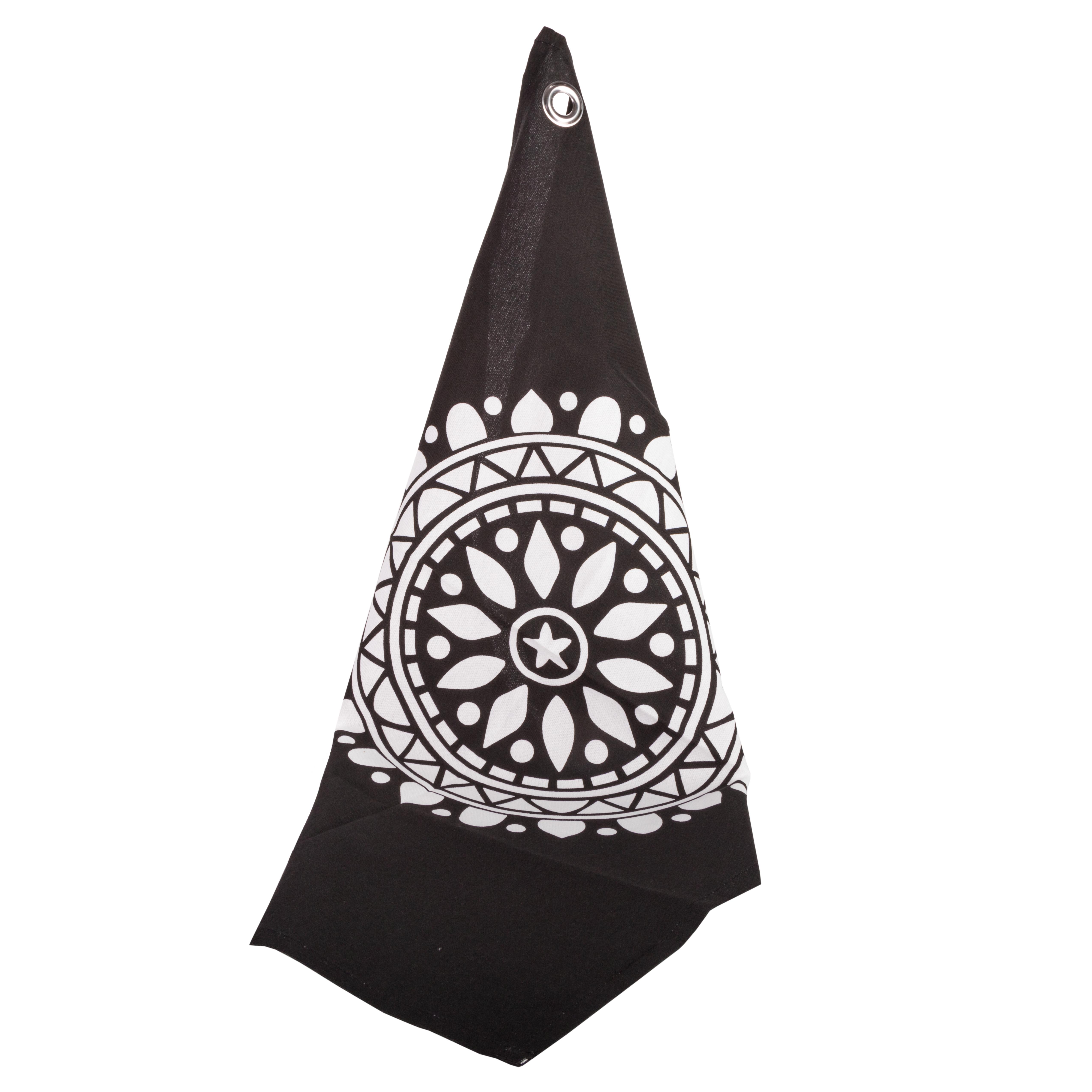 Viskestykke sort med hvid ornament