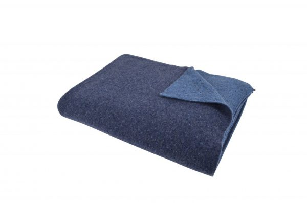 Blå lus vendbar uld plaid
