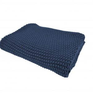 Blå strik vendbar bomulds plaid