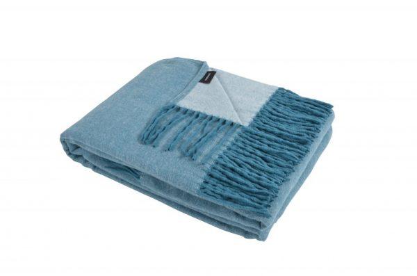 Blå vendbar plaid med frynser