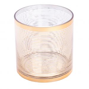 Fyr stage klar glas guld stribet 13 cm