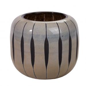 Gråsort buttet bred glas vaser 15 cm