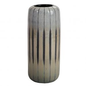 Gråsort cylinder glas vase 30 cm