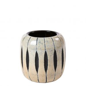 Gråsort lille buttet glas vaser 10 cm