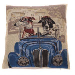 Hunde i blå bil pude 42 x 42 cm