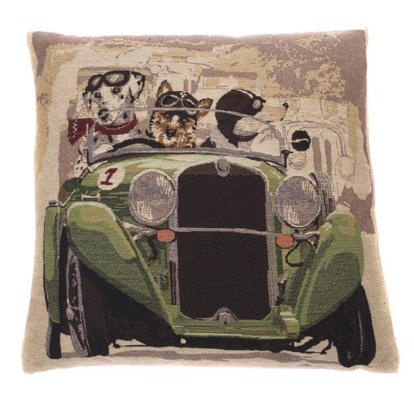 Hunde i grøn bil pude 42 x 42 cm