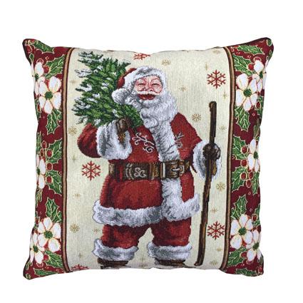 Julemand med træ pude 42 x 42 cm