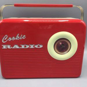 Kage dåse rød transistor radio metal.