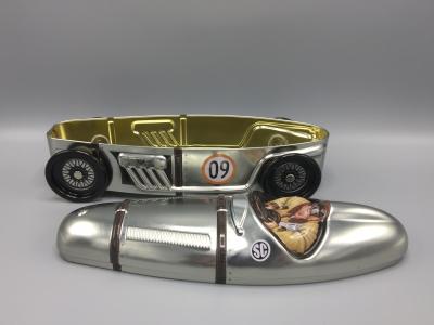 Kage dåse sølvpil sportsvogn metal. c