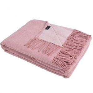 Lys rosa vendbar plaid med frynser
