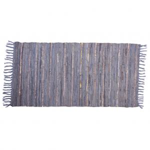 Trendy grå læder tæppe 70 x 140 cm