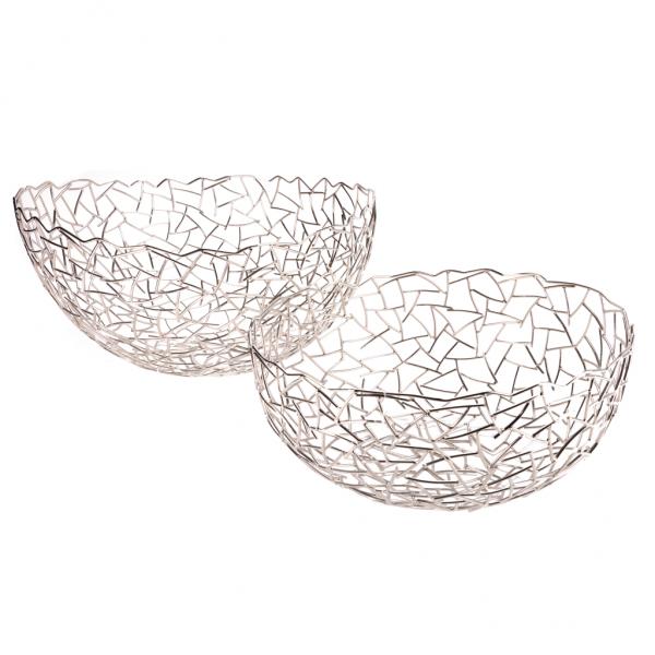Trendy grafisk sølv rustfri stål kurv Ø 33 cm