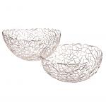 Trendy grafisk sølv rustfri stål kurv Ø 40 cm