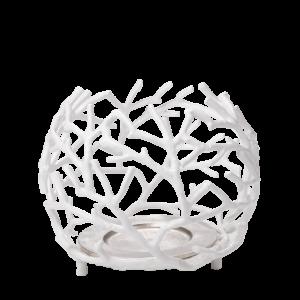 Trendy hvid koral skål lysestager 23 cm