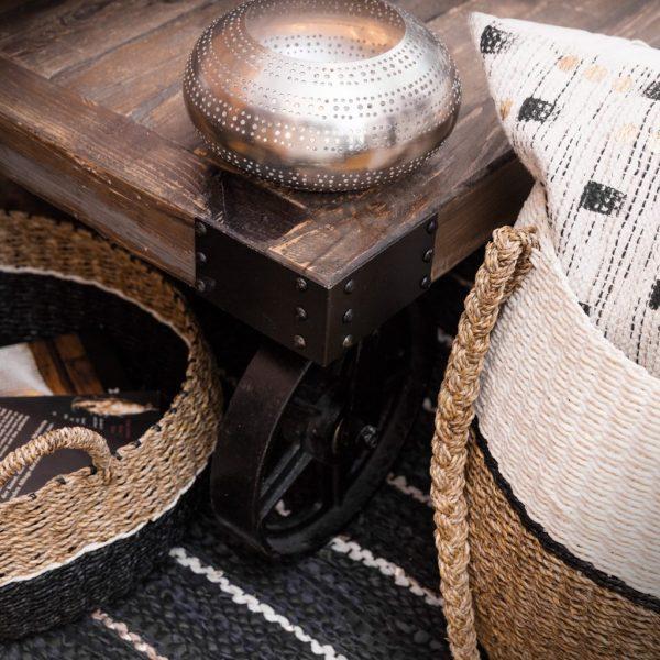Trendy sort læder tæppe 70 x 140 cm a