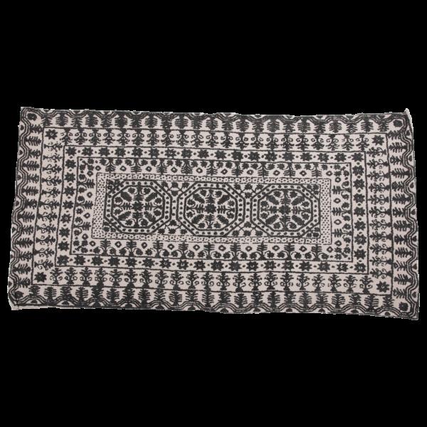 Trendy sort og hvid tæppe 70 x 140 cm