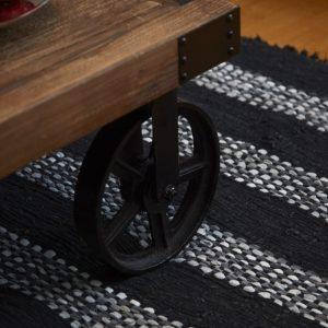 Trendy sort strib læder tæppe 70 x 140 cm a