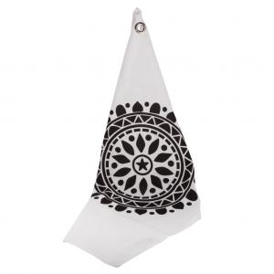 Viskestykke hvid med sort ornament