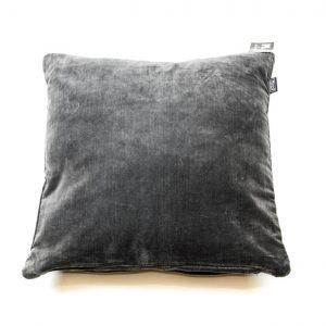 Koksgrå velour pude 45 x 45 cm