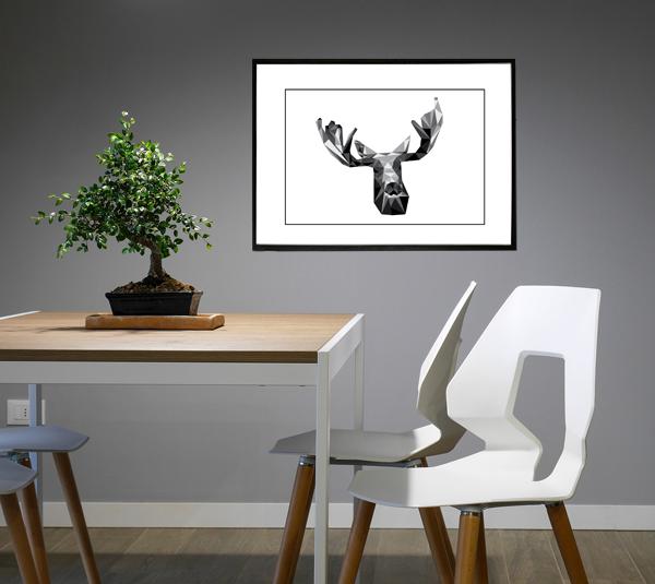 Elgen - tegning - billede fra Boligpynt - i ramme