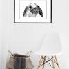 Kaninen illustrations tegning i ramme fra Boligpynt - inspirationsbilled