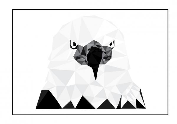 Ørnen - billede tegning fra Boligpynt med passepartou