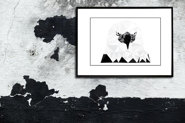 Ørnen - billede tegning fra Boligpynt med passepartou - billed i ramme