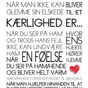 Kærlighed er... Tekstplakat fra Boligpynt