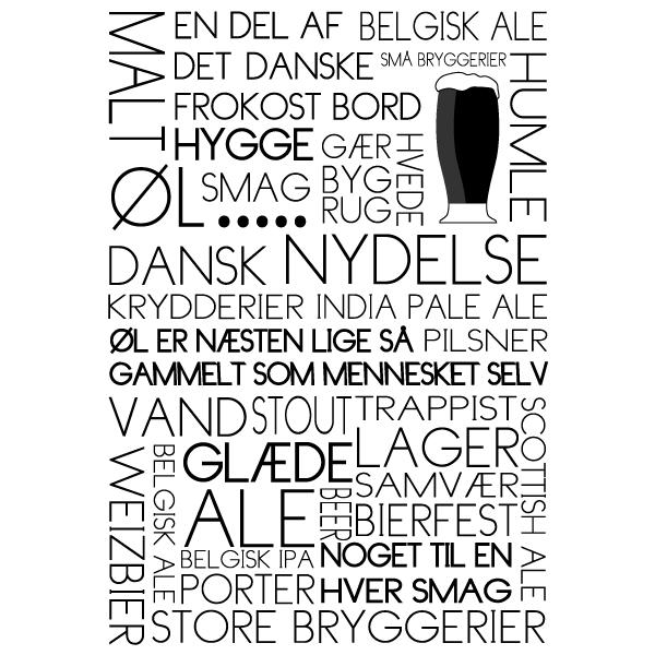 Øl tekstplakat til alle dem sol elsker øl - fra Boligpynt