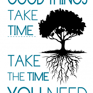 Good things take time – take the time you need - tekstplakat sort turkis
