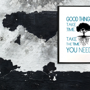 Good things take time – take the time you need - tekstplakat sort turkis i ramme