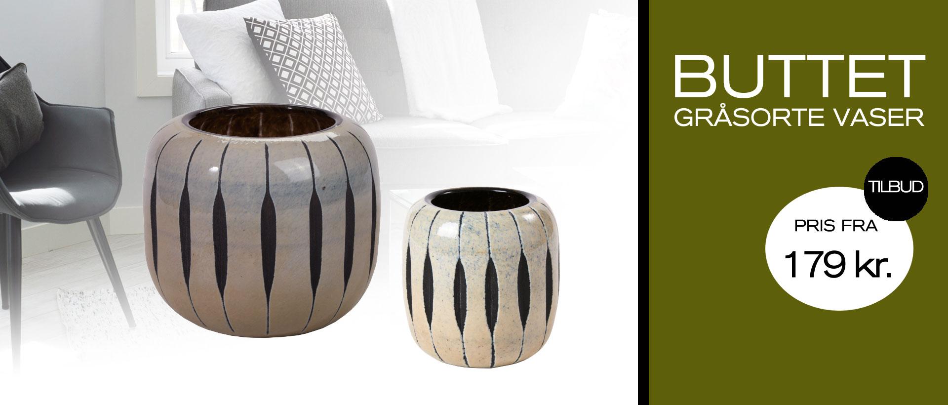 buttet gråsorte vaser fra Boligpynt på tilbud