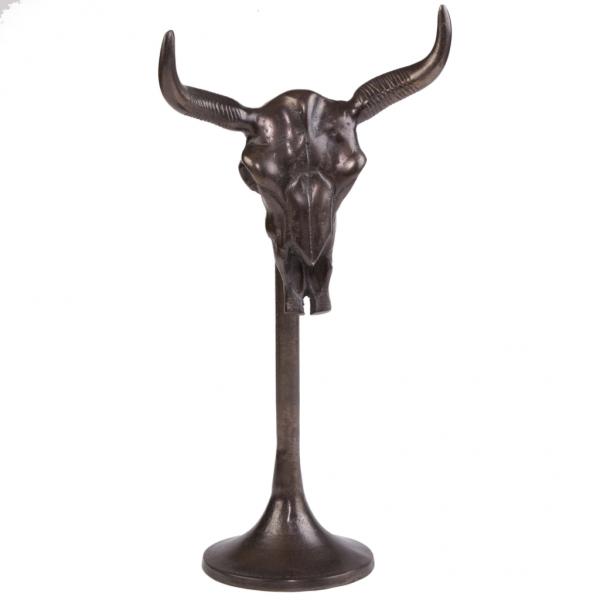 Kranie skulptur antik brun 45 cm